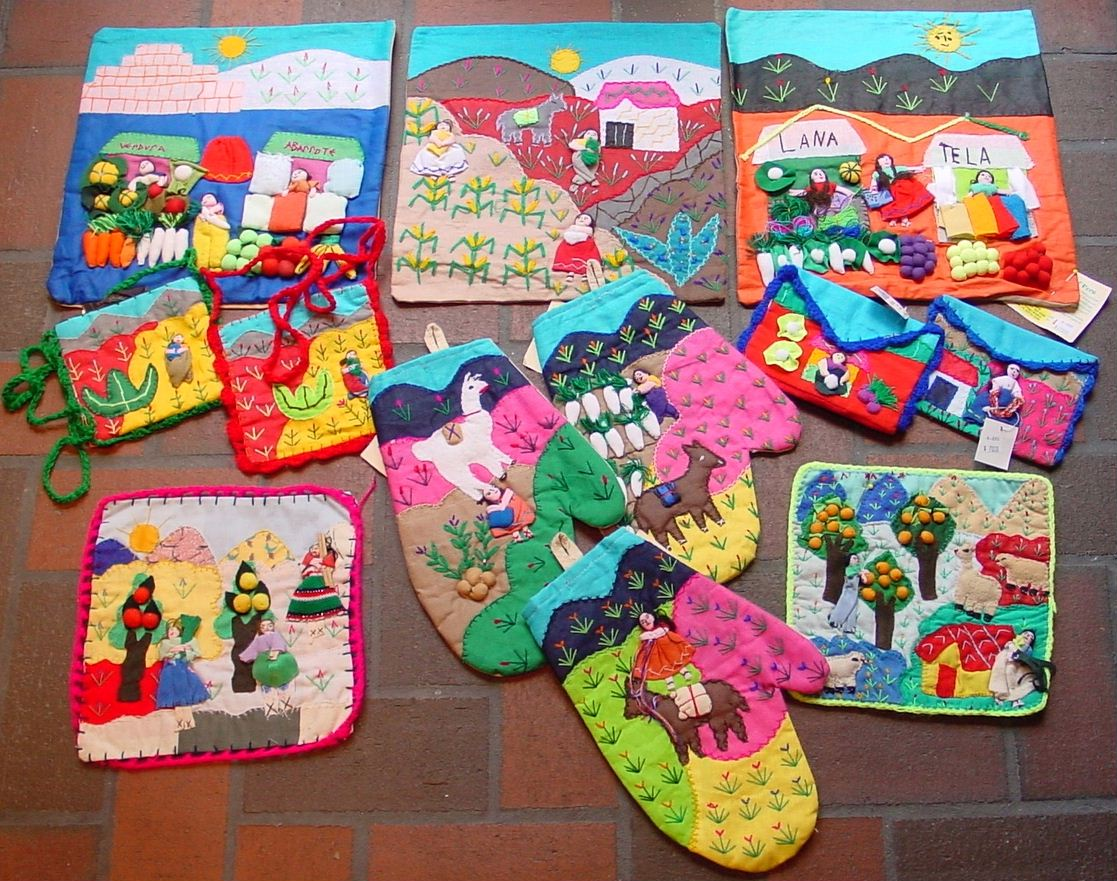 Click for a larger picture of some available arpilleras